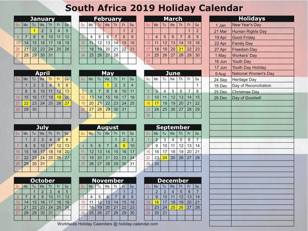 South African Calendar 2019 With Public Holidays