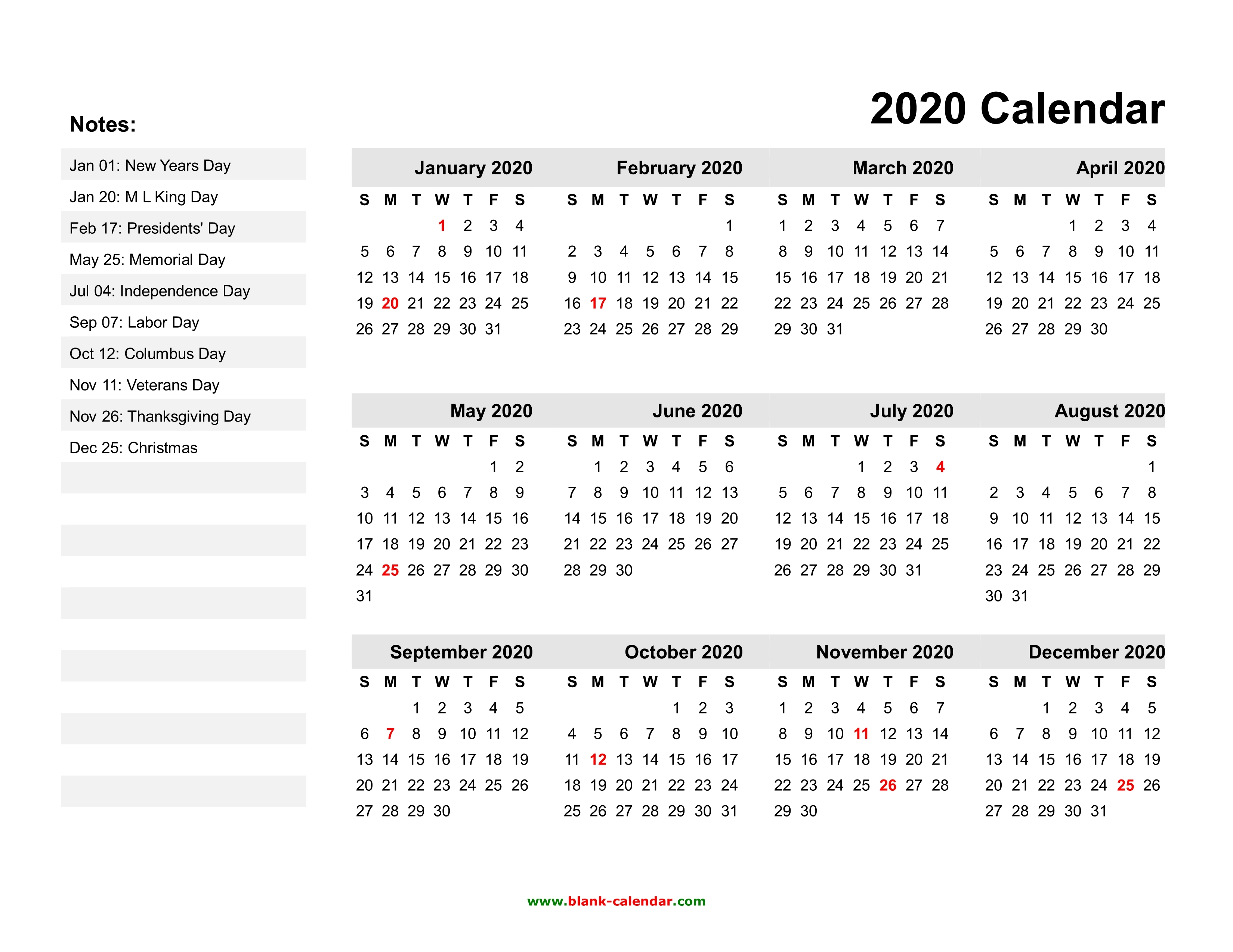 2020 Yearly Calendar With Holidays Printable   Qualads