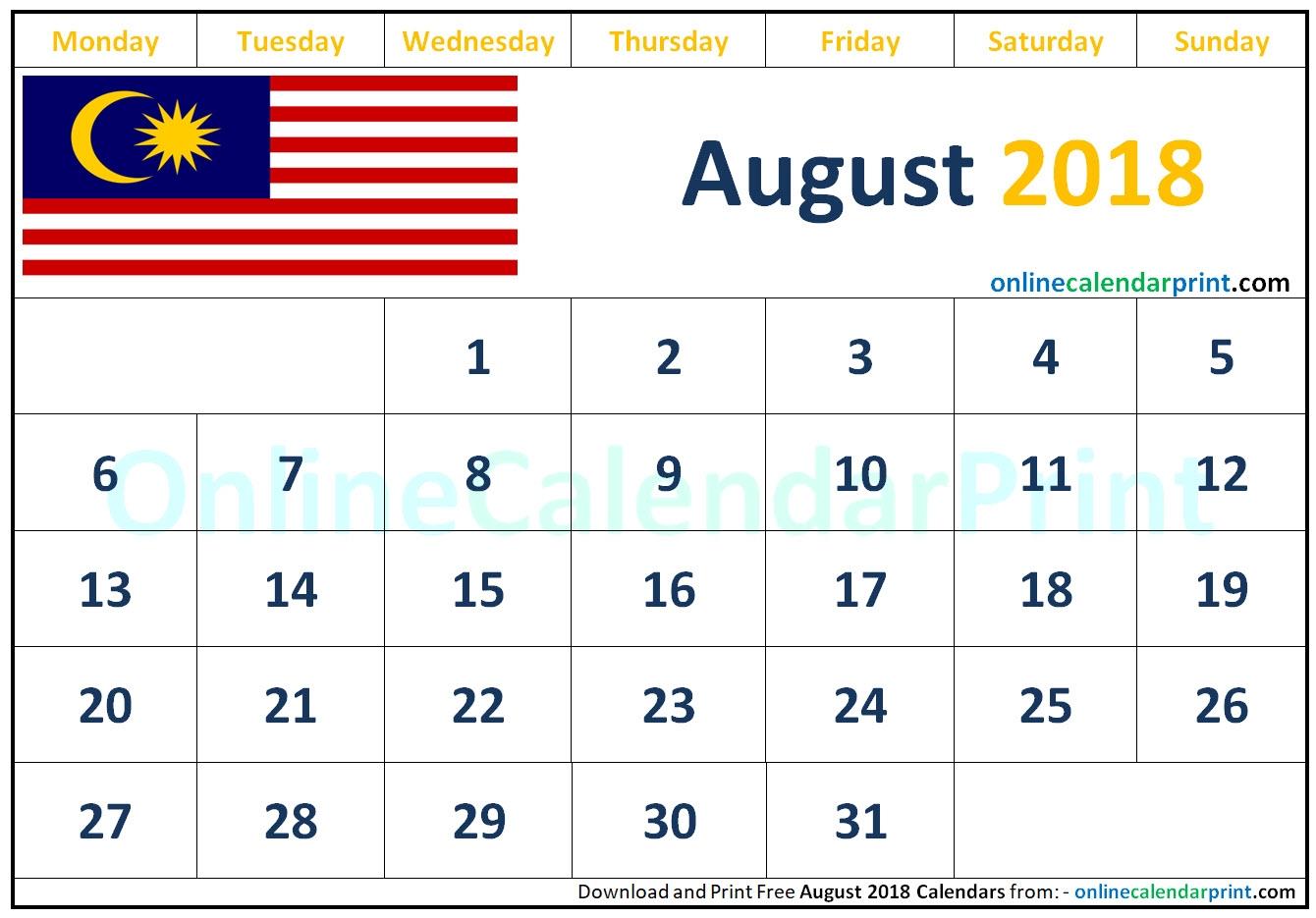 August 2018 Calendar Malaysia