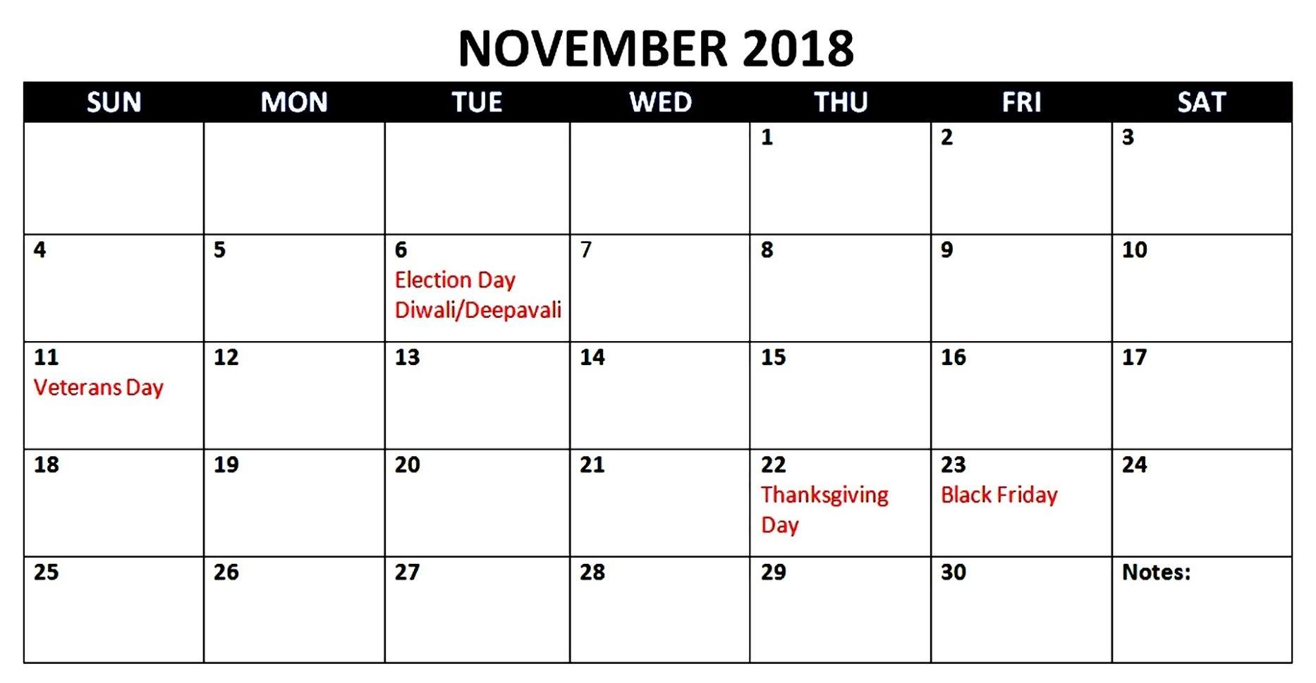 November 2018 Calendar Usa