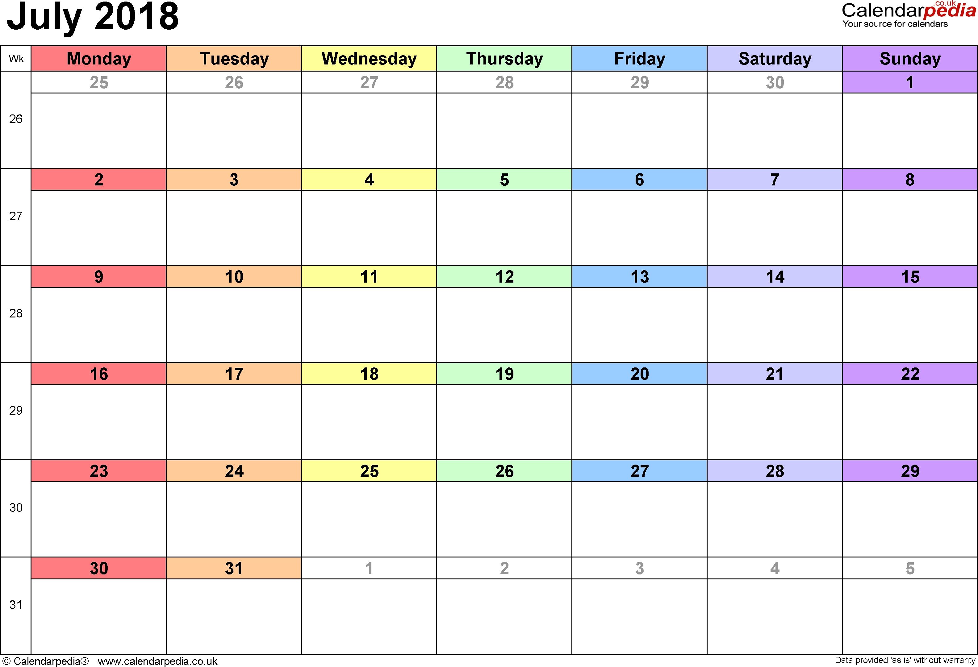 July 2018 Uk Calendar