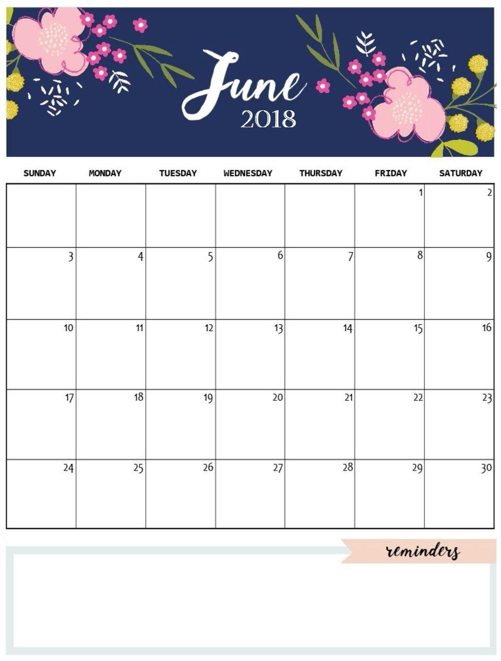 June 2018 Calendar Cute