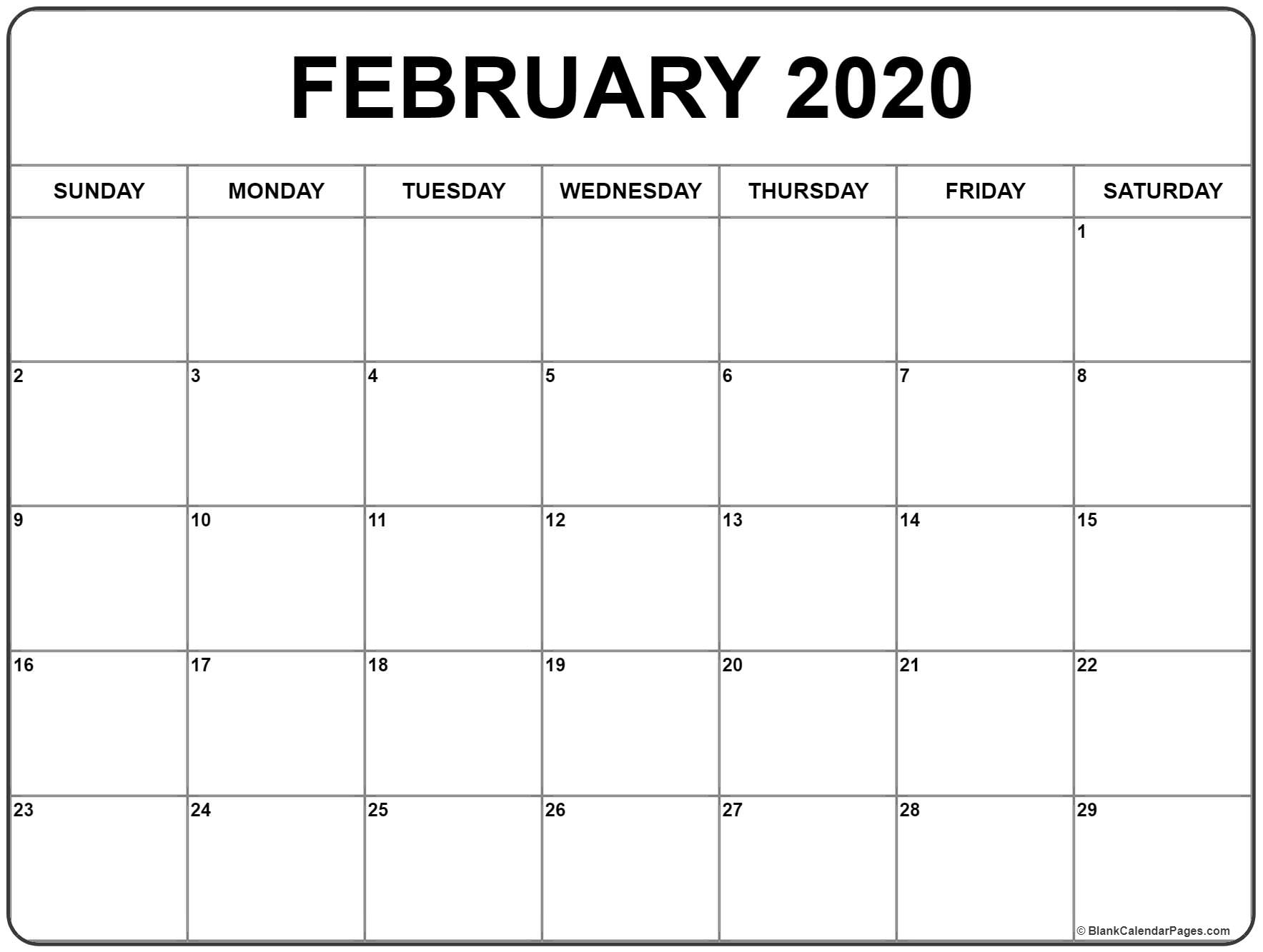 February 2020 Calendar Page