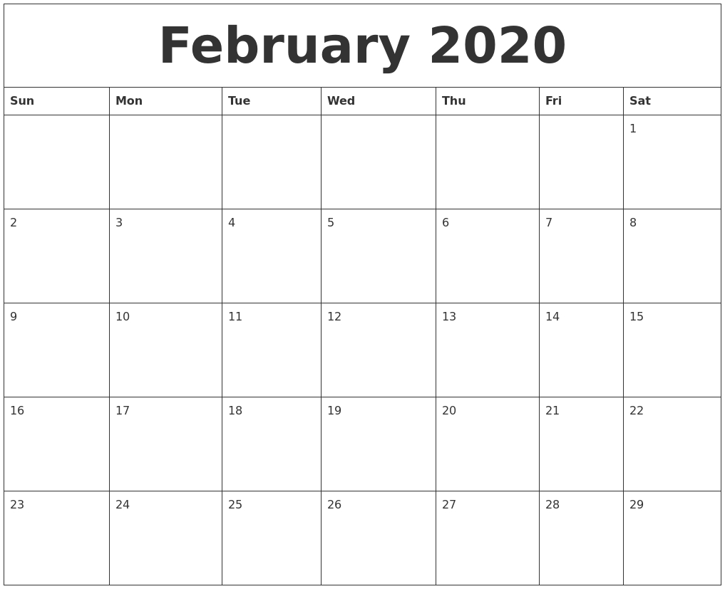 Monthly Calendar 2020 Free Printable