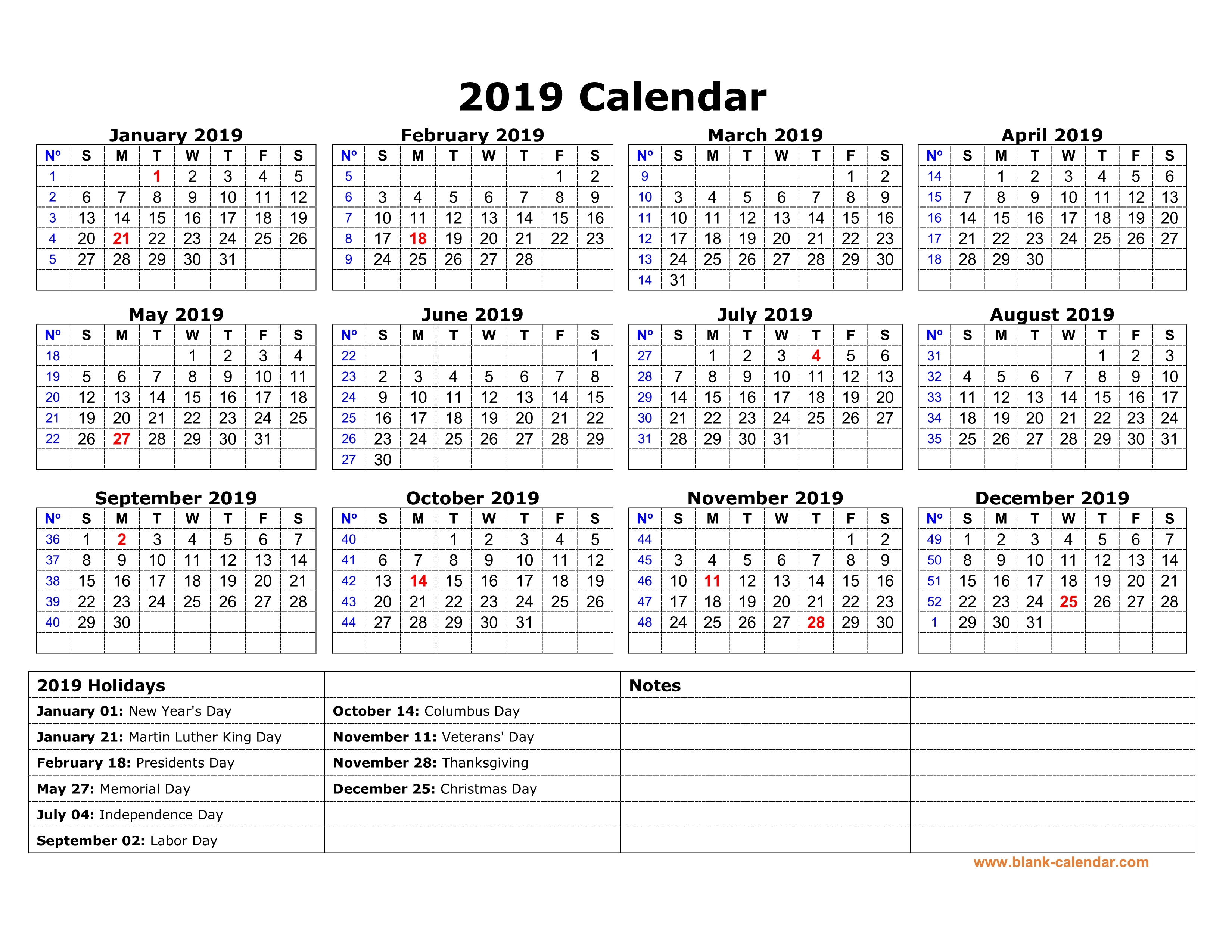 2019 Calendars With Holidays Printable