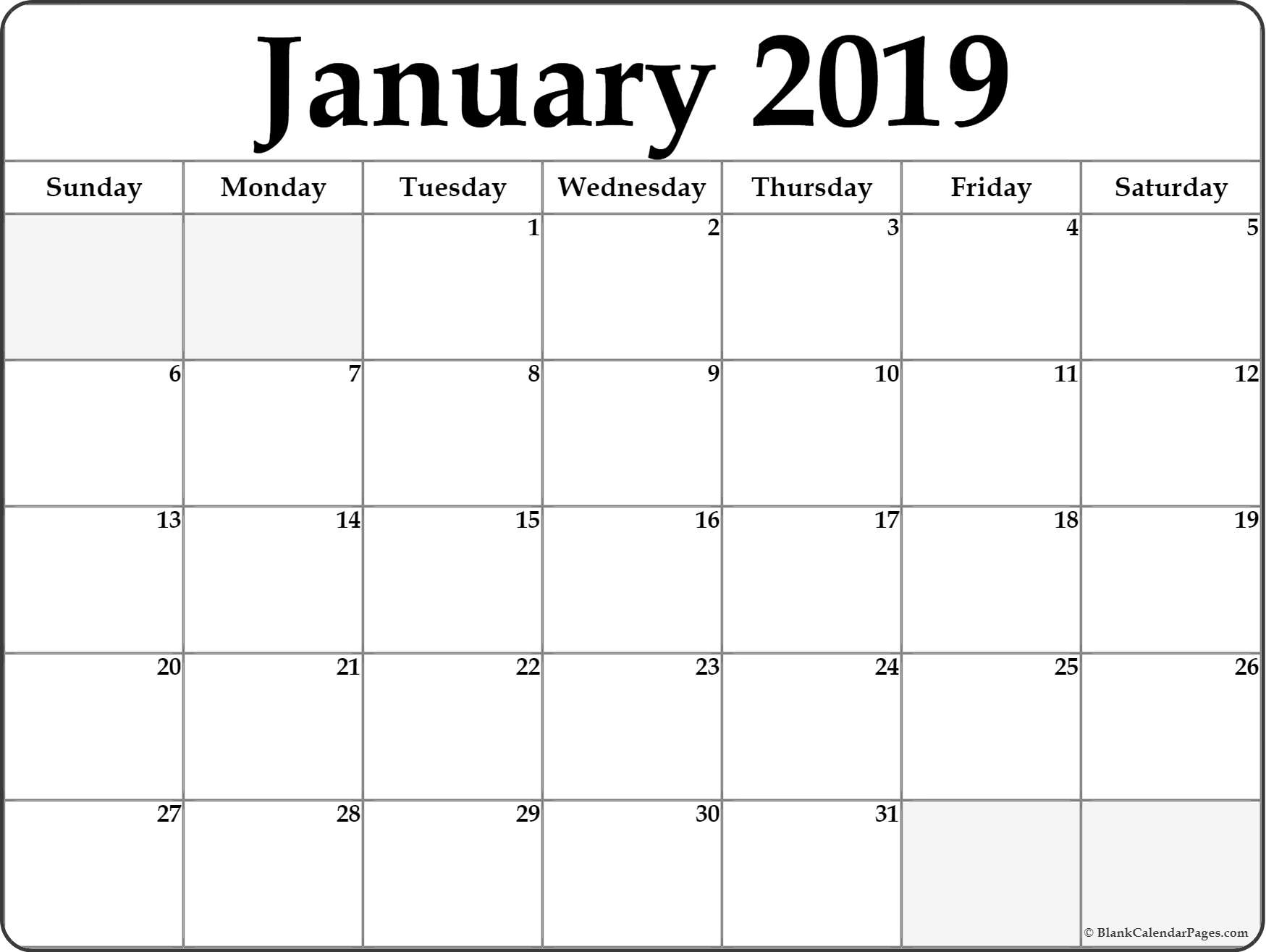 January 2019 Calendar Printable 2