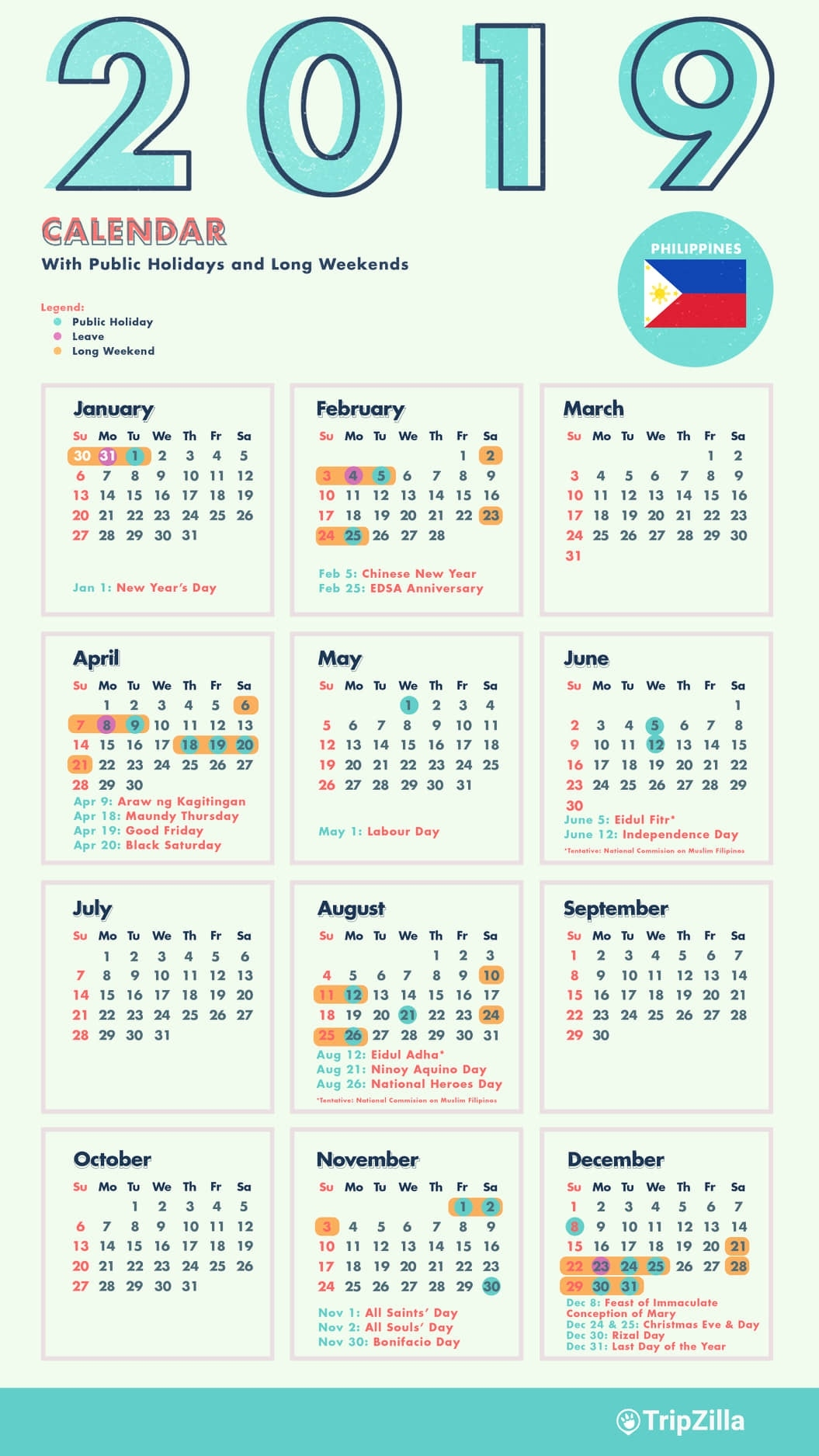 10 Long Weekends In The Philippines In 2019 With Calendar Cheatsheet