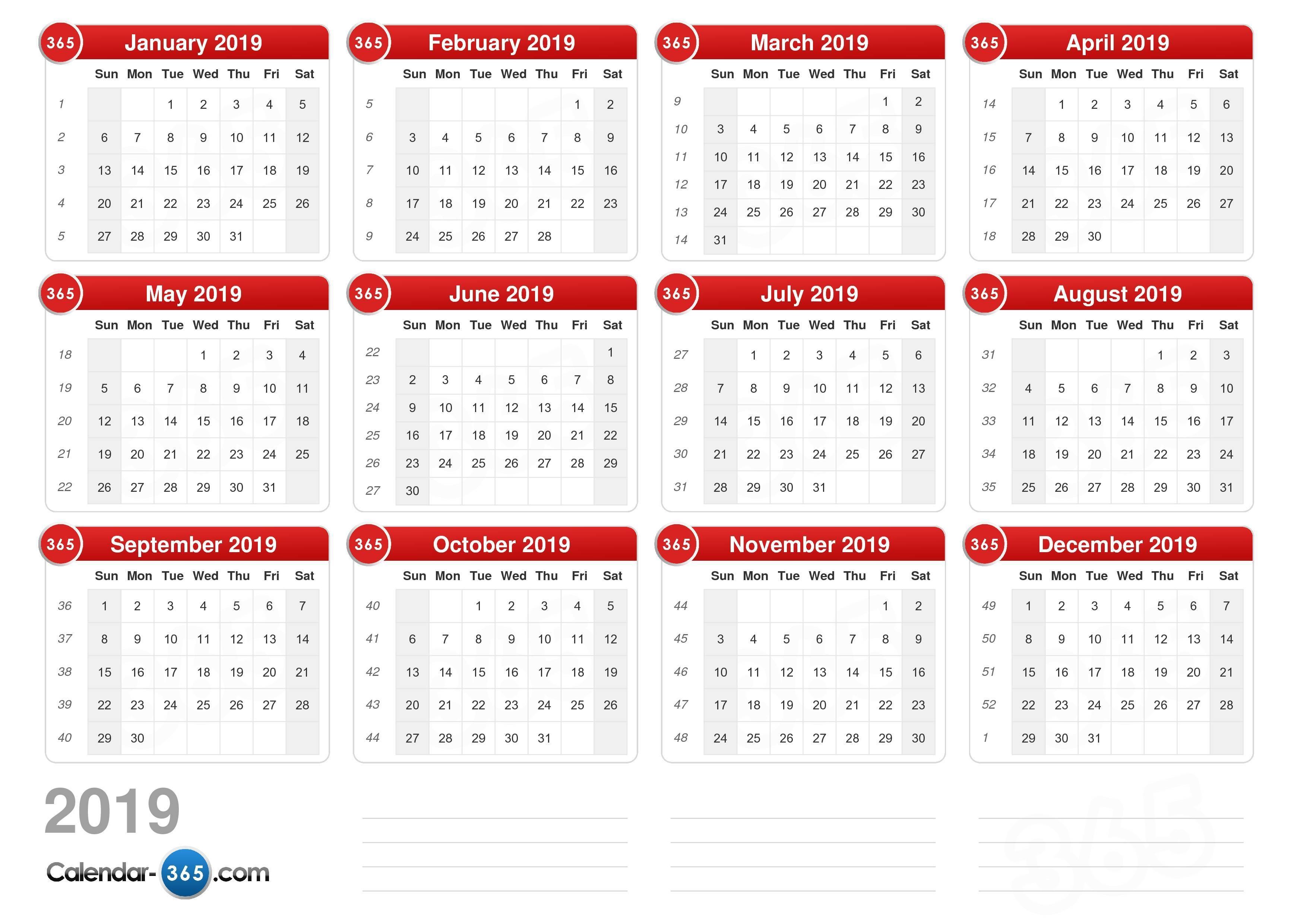 July 2019 Printable   Calendar With Week Numbers Monday 2