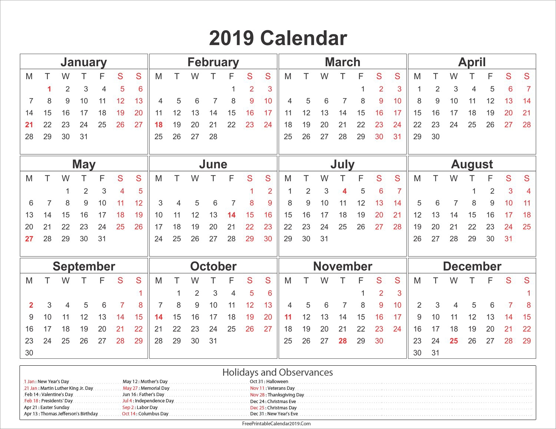 2019 Png Calendar