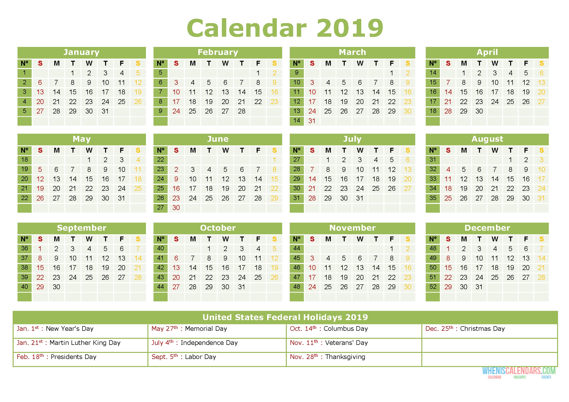 2019 Yearly Calendar With Holidays Printable Us Edition S2e3