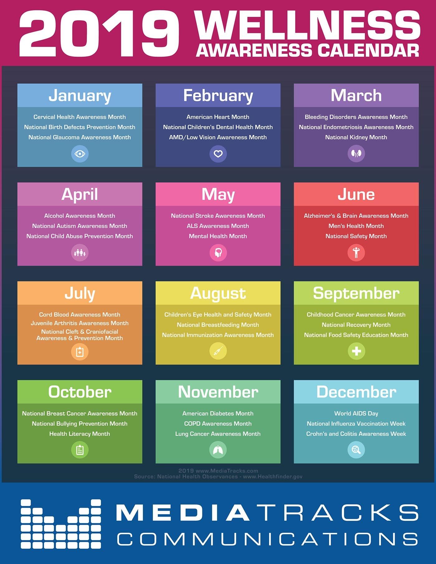 2019 Health Wellness Awareness Calendar Infographic