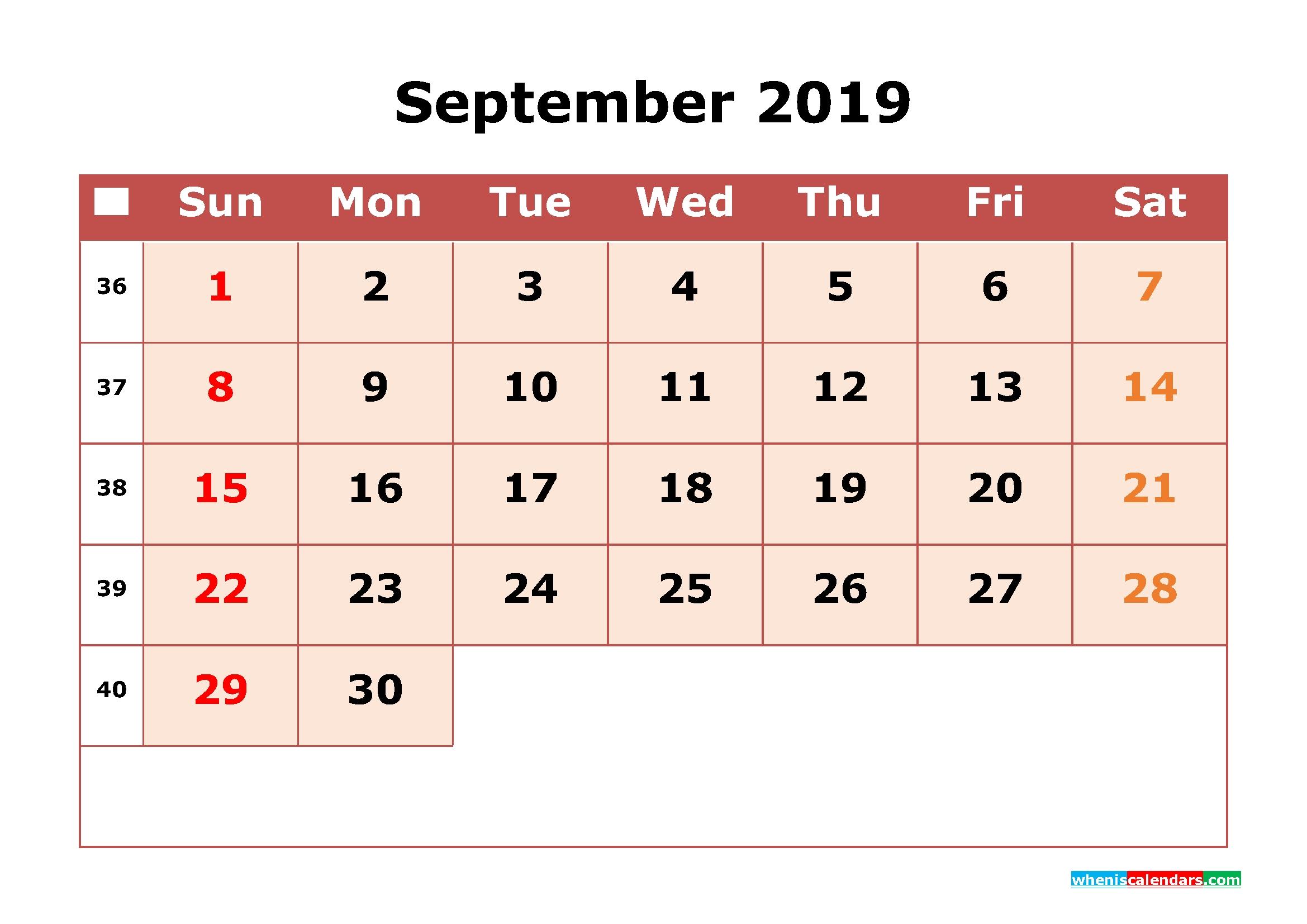 2019 Printable Calendar September With Week Numbers Free Printable