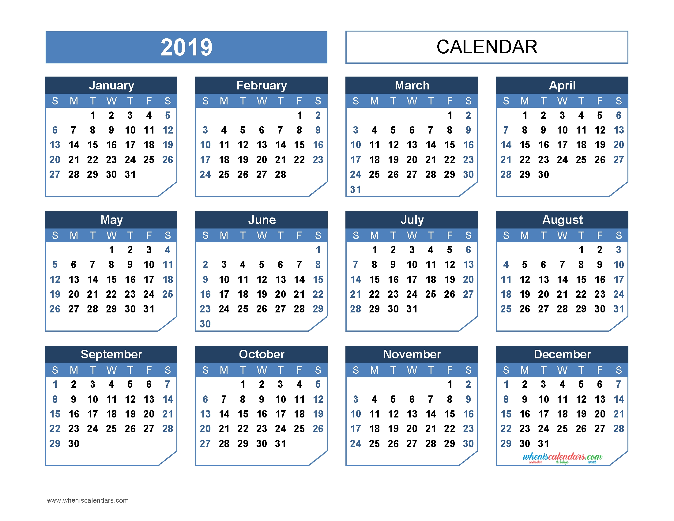 Printable 2019 Yearly Calendar Templates Us Edition Office