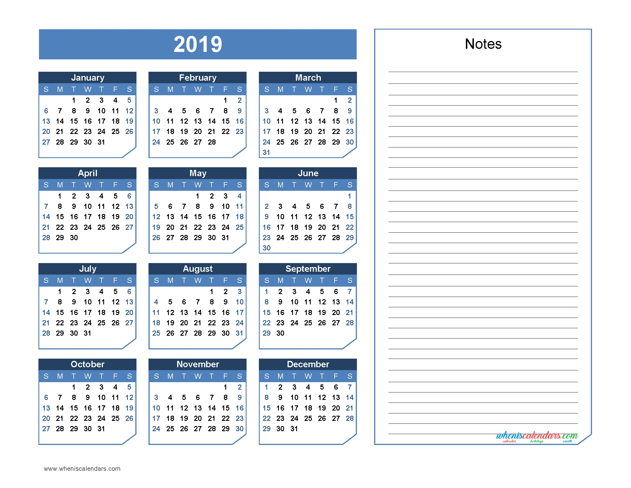 2019 Yearly Calendar With Notes Printable Chamfer Collection Office