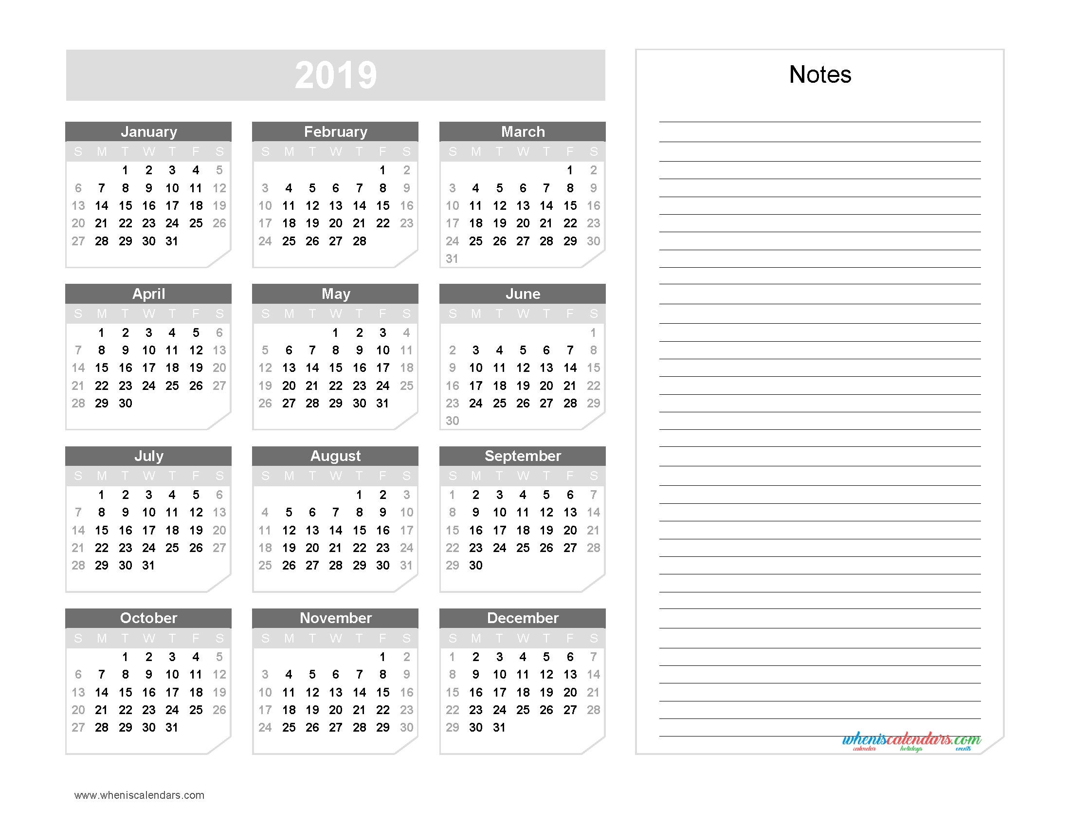 2019 Yearly Calendar With Notes Printable Chamfer Collection Grayscale