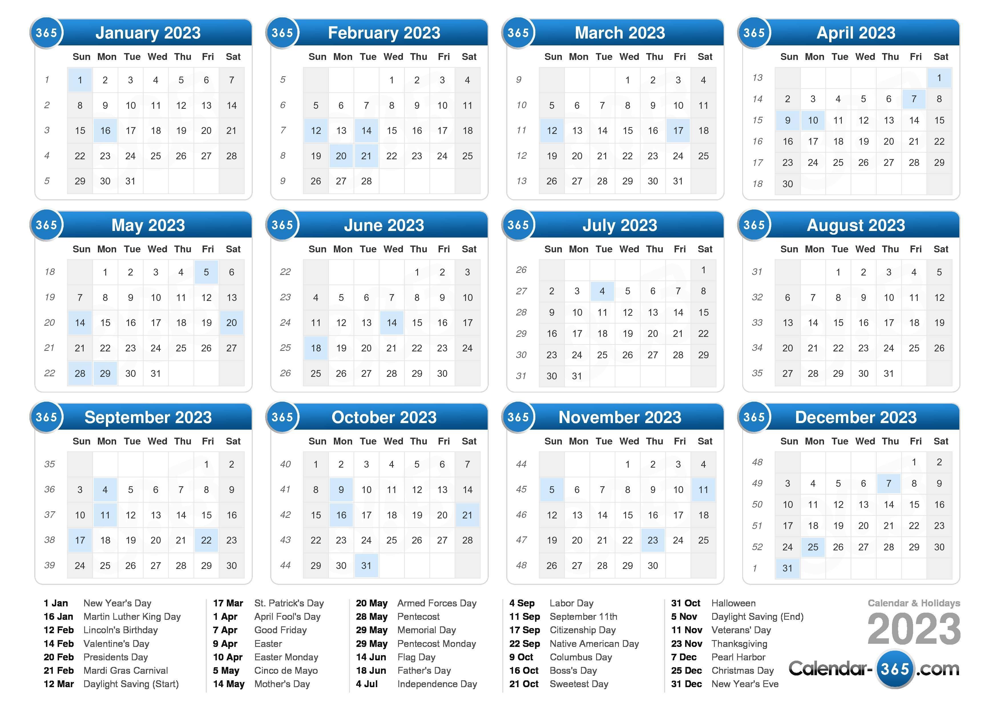 Online Calendar 2023 With Week Numbers
