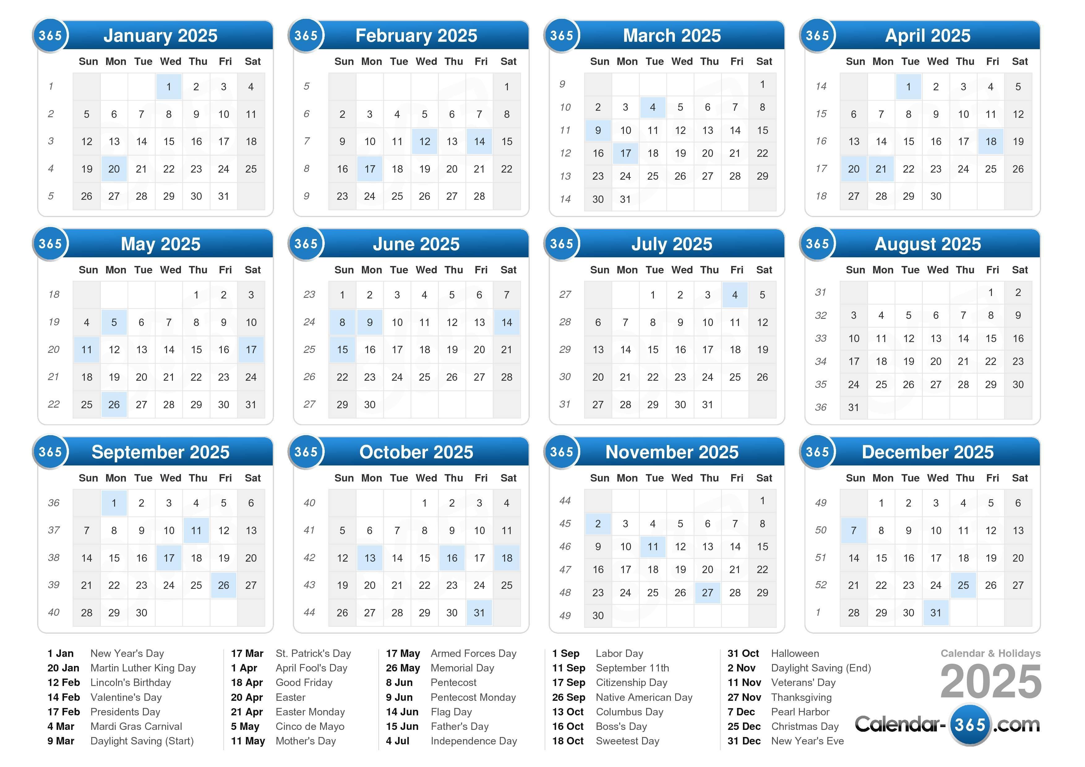 Online Calendar 2025 With Week Numbers