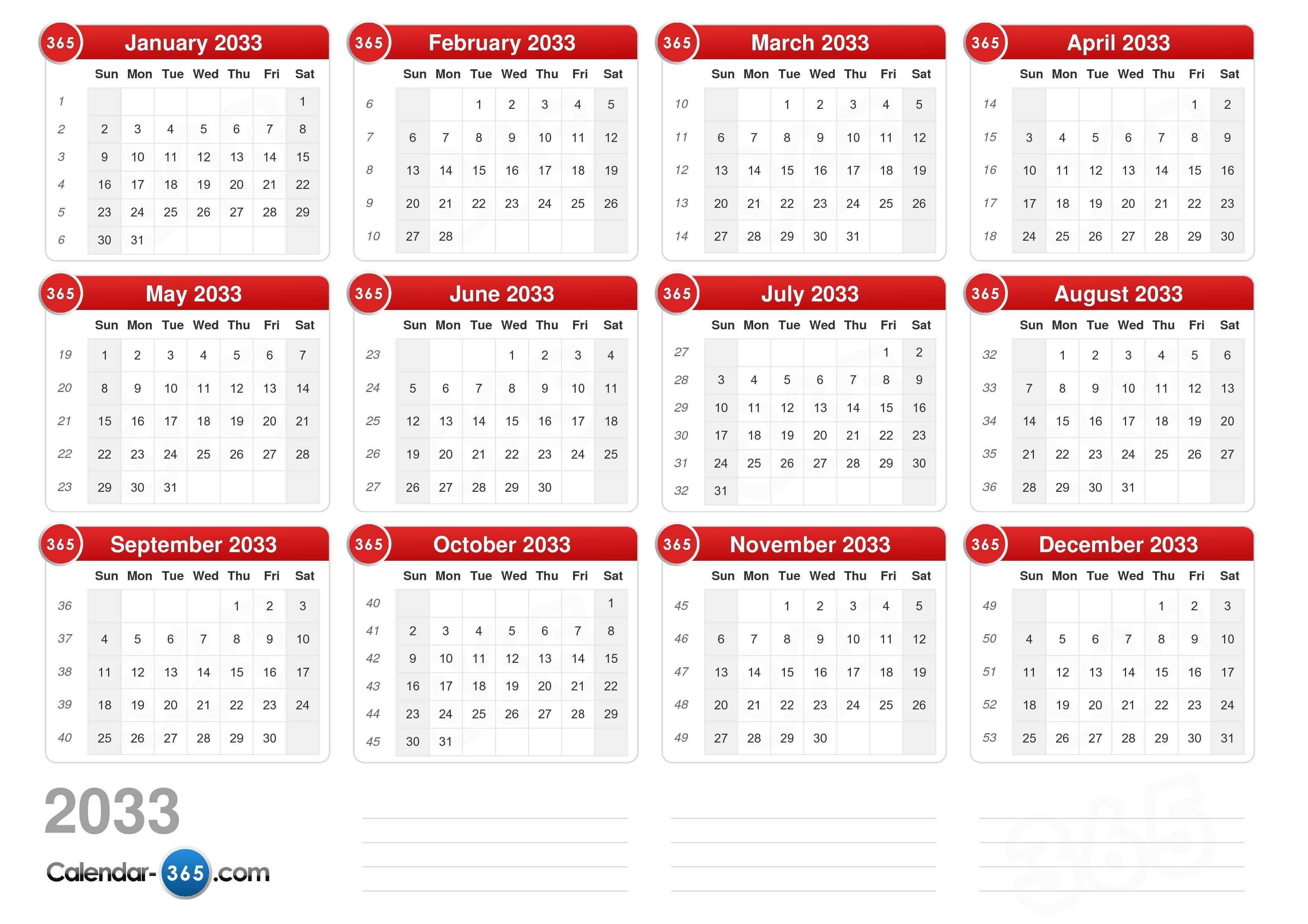 online calendar 2033 with week numbers