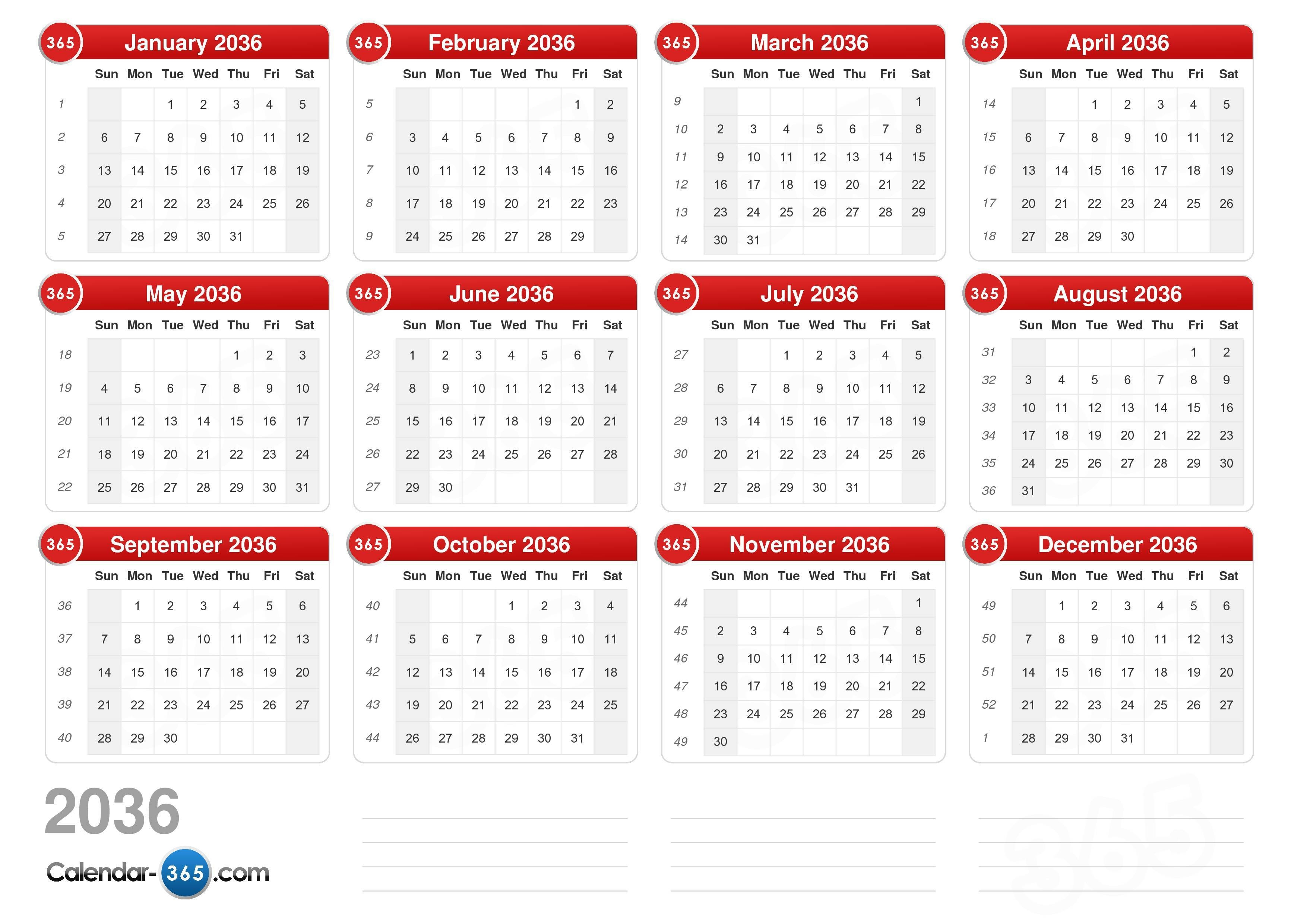 Online Calendar 2036 With Week Numbers