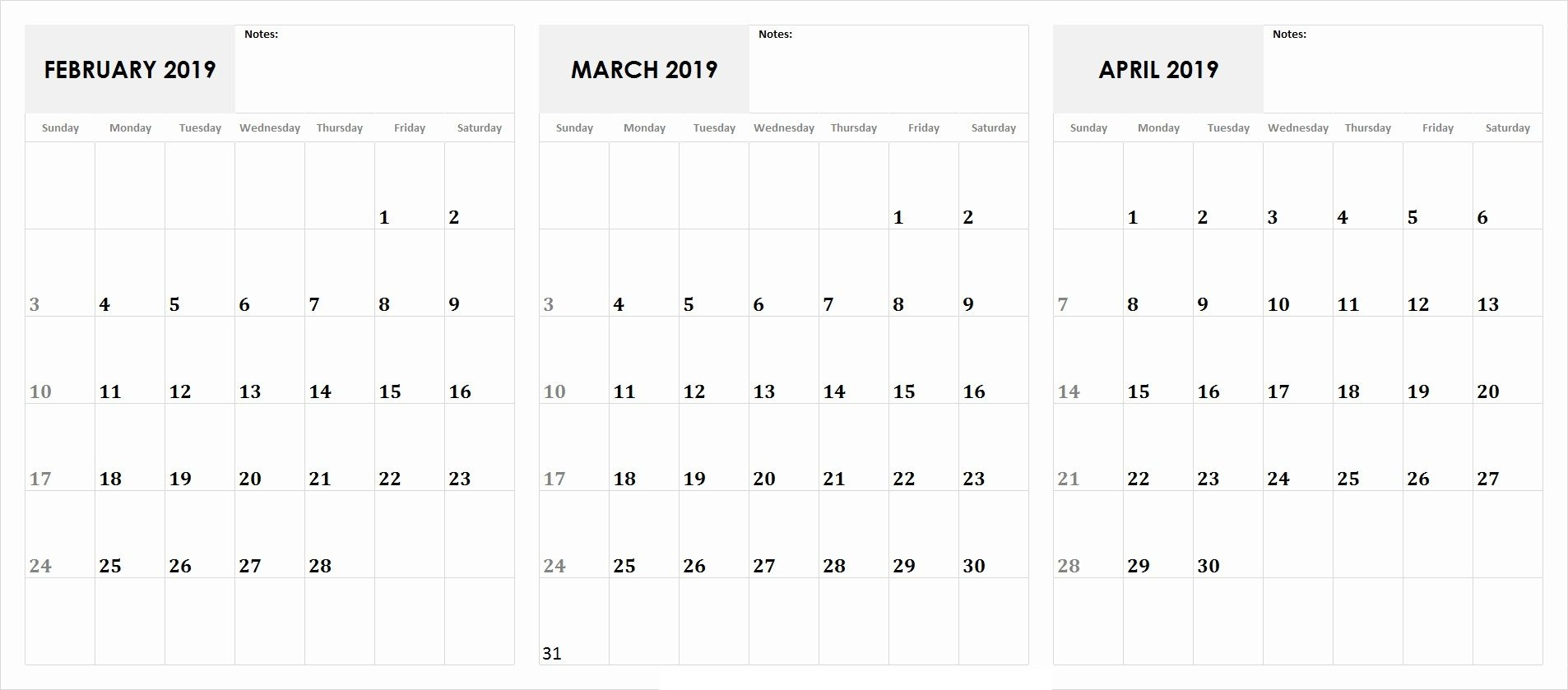3 Month Calendar 2019 February March April