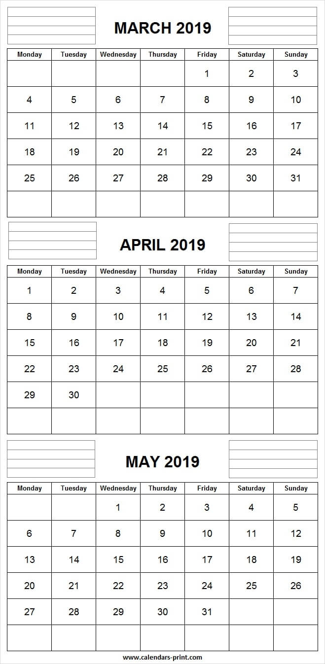 Three Month Calendar March April May 2019