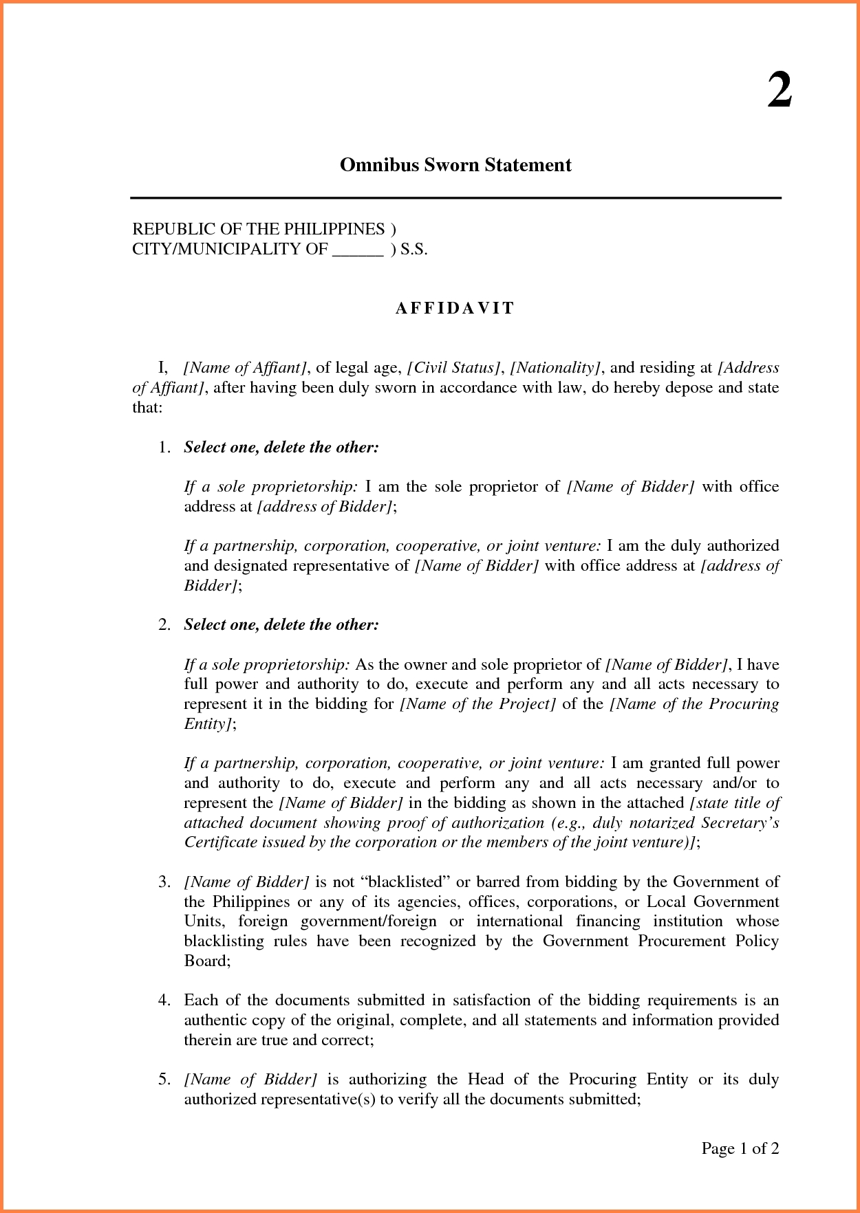 Affidavit Sworn Statement Template