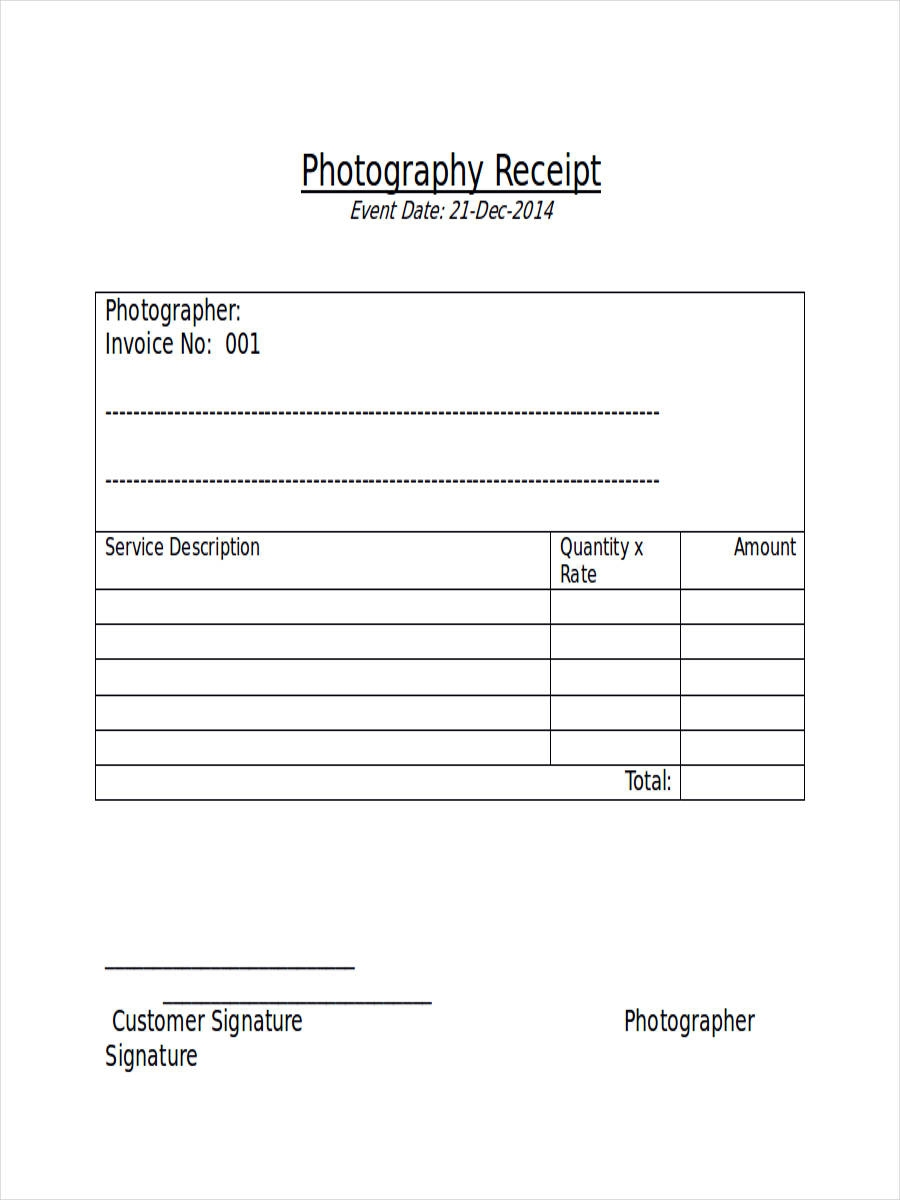 Photography Receipt Template