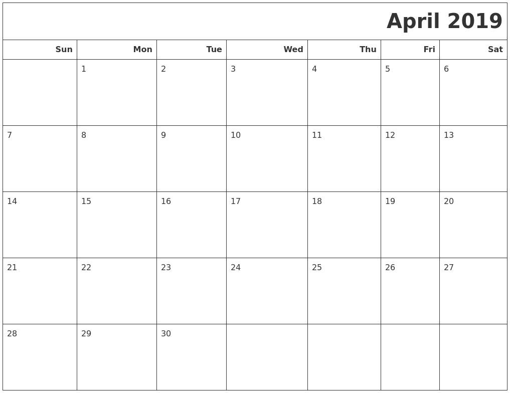 April 2019 Calendar Starting Monday