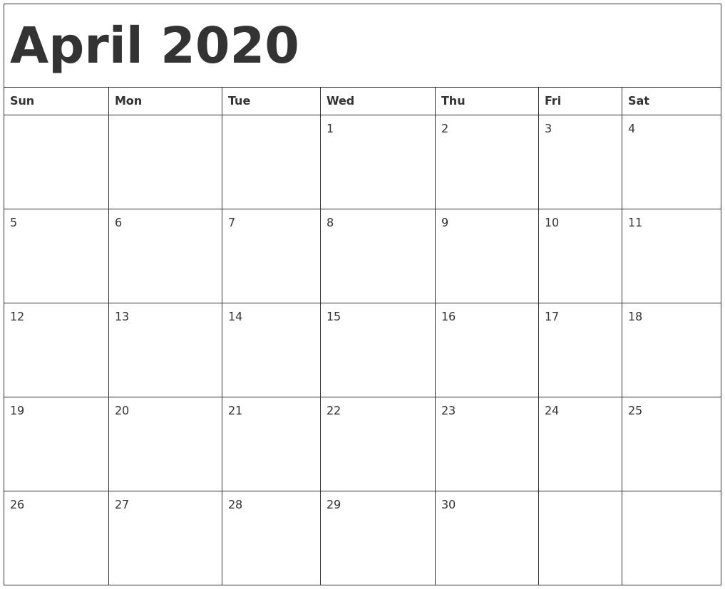 April 2020 Printable Calendar Templates