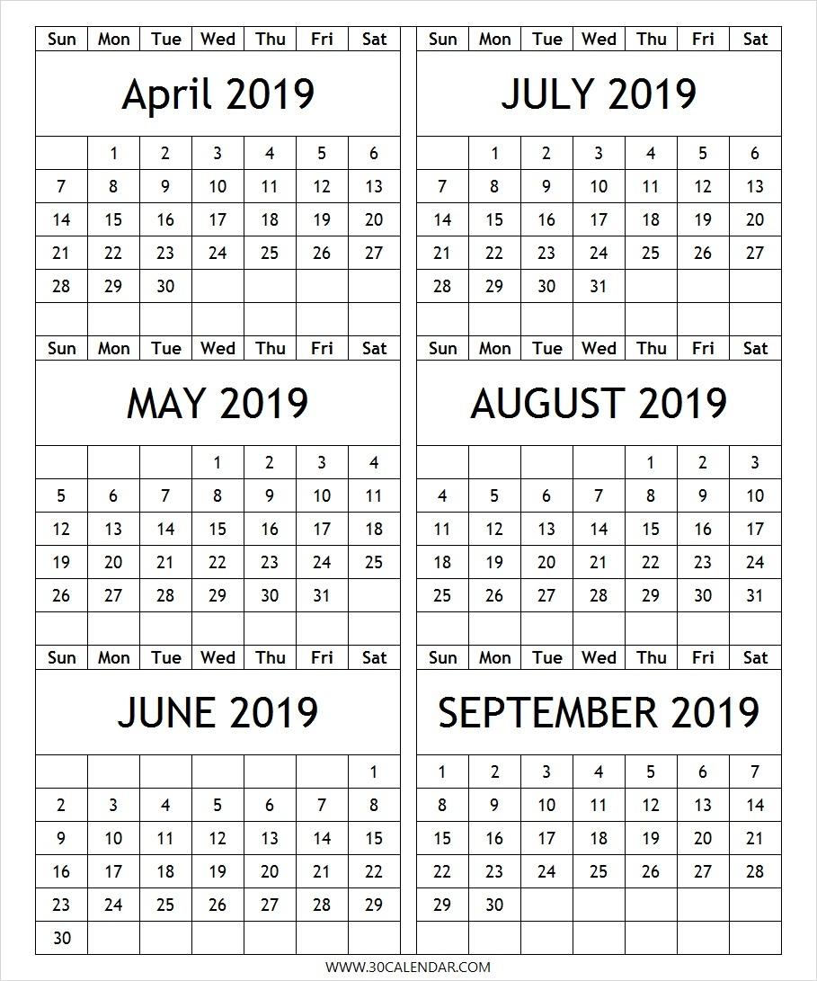 April To September 2019 Calendar