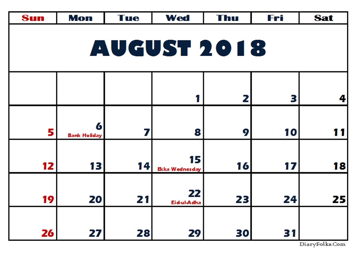 August 2018 Calendar South Africa