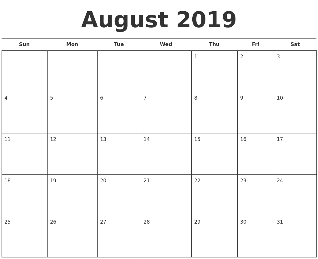 Free August 2019 Printable Calendar Templates Us Edition