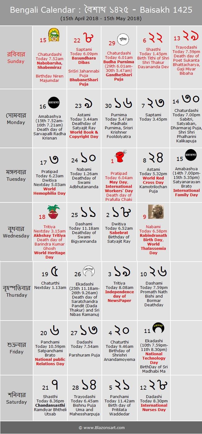 Year 2019 Bangla Calendar