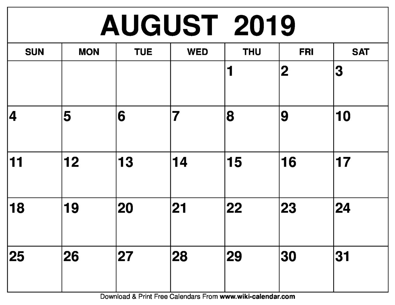 Printable Calendar Template August 2019 As Pdf And Jpg