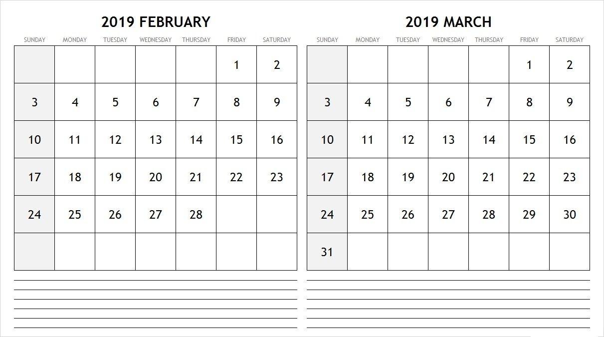 2019 February March Calendar