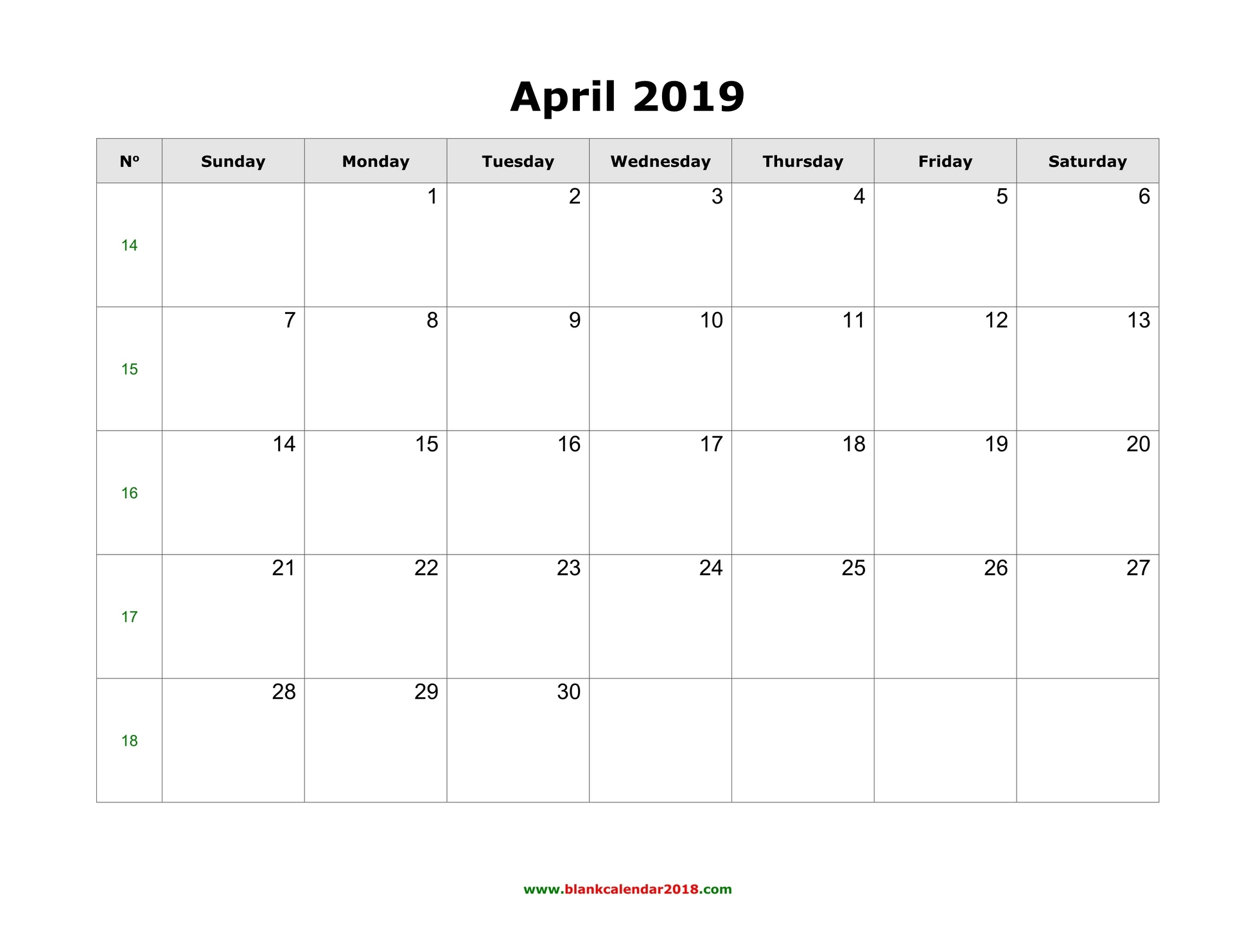 April To May 2019 Calendar Blank