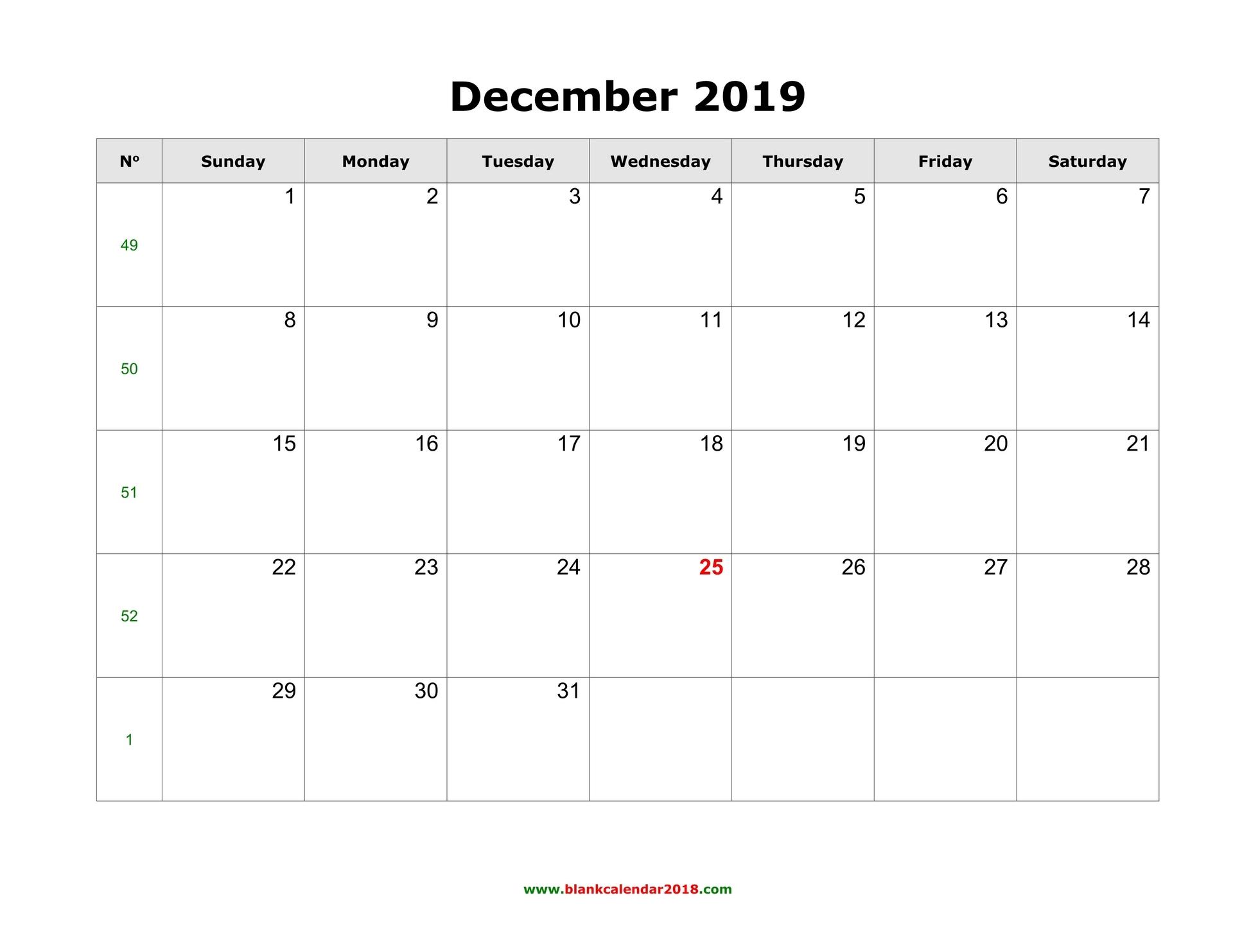 Printable December 2019 Calendar Template Landscape Format