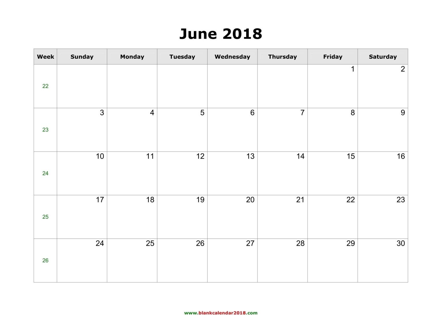 June 2018 Calendar Notes