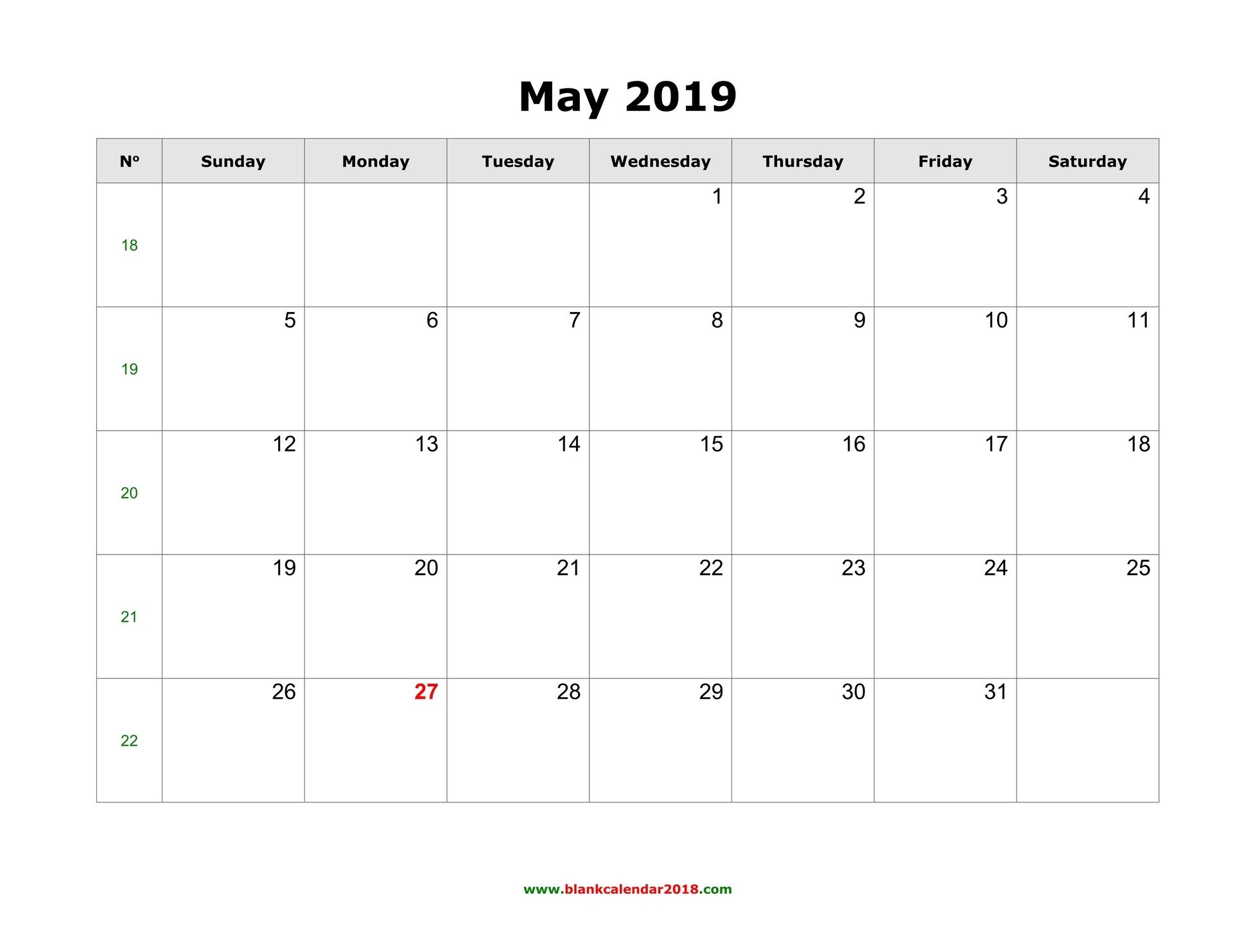 Printable   Calendar 2019 May Monday