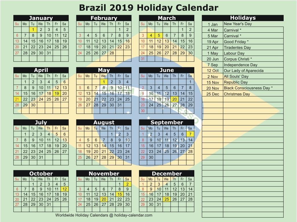 Brazil 2019 Calendar With Holidays