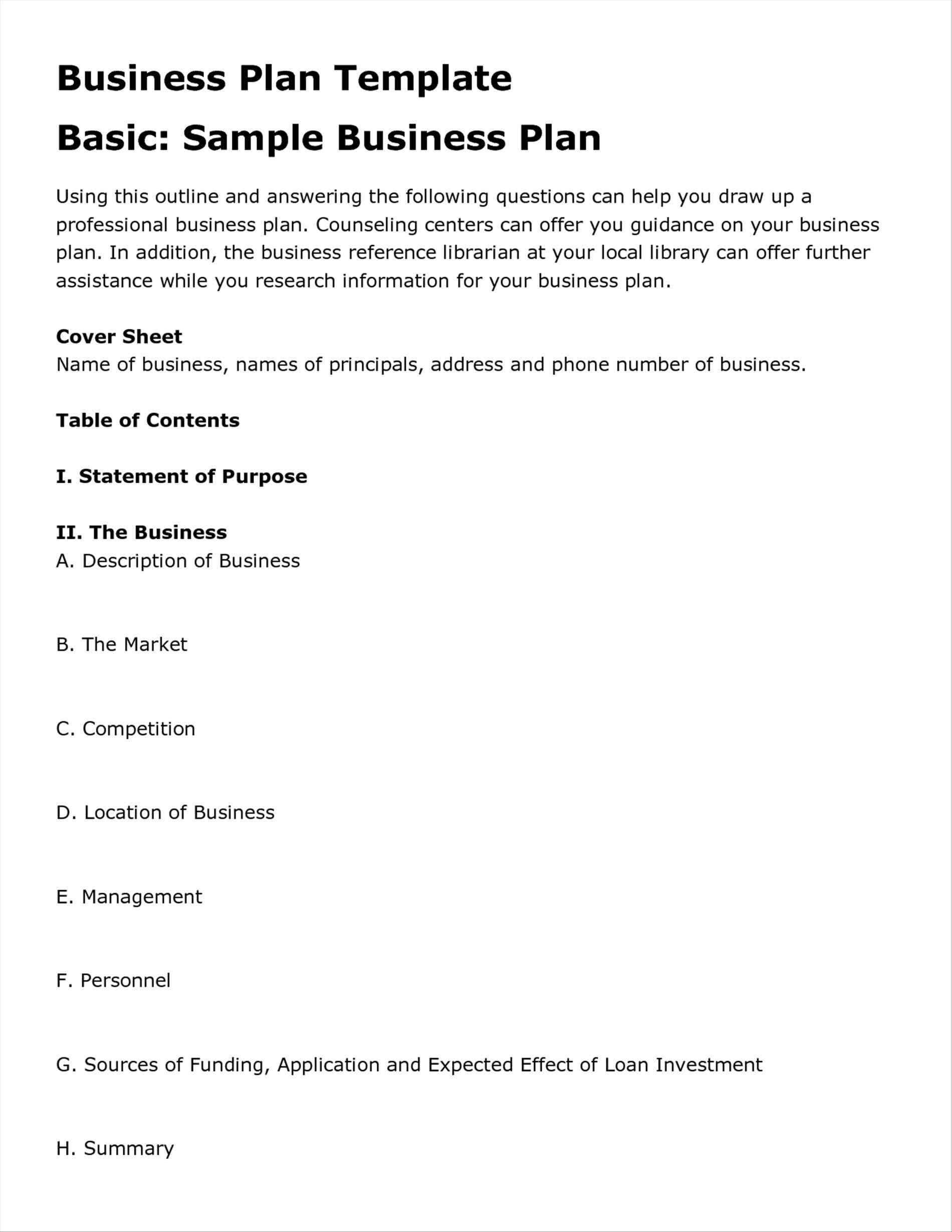 Sample Restaurant Business Plan Template
