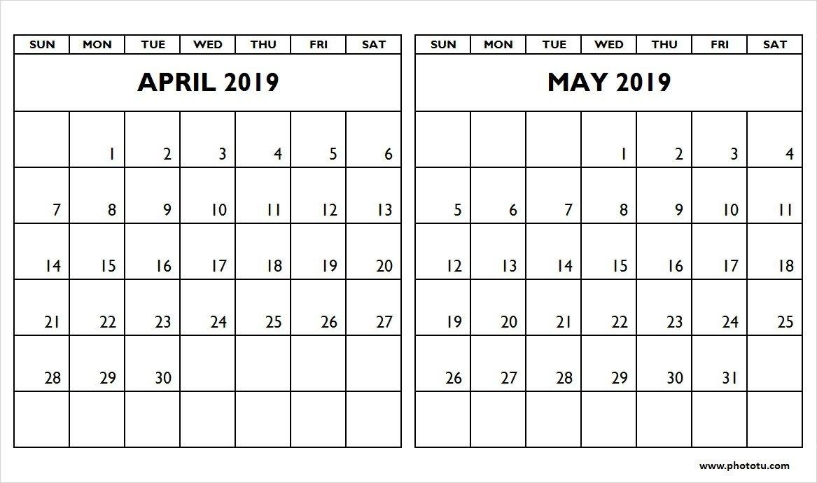 Calendar April May 2019 Gurekubkireklamoweco