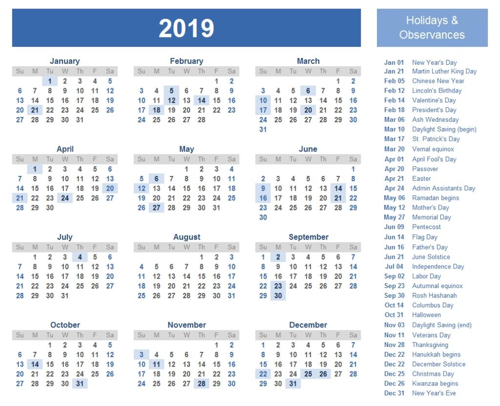 2019 Major Holidays Floating Holidays And Celebrations