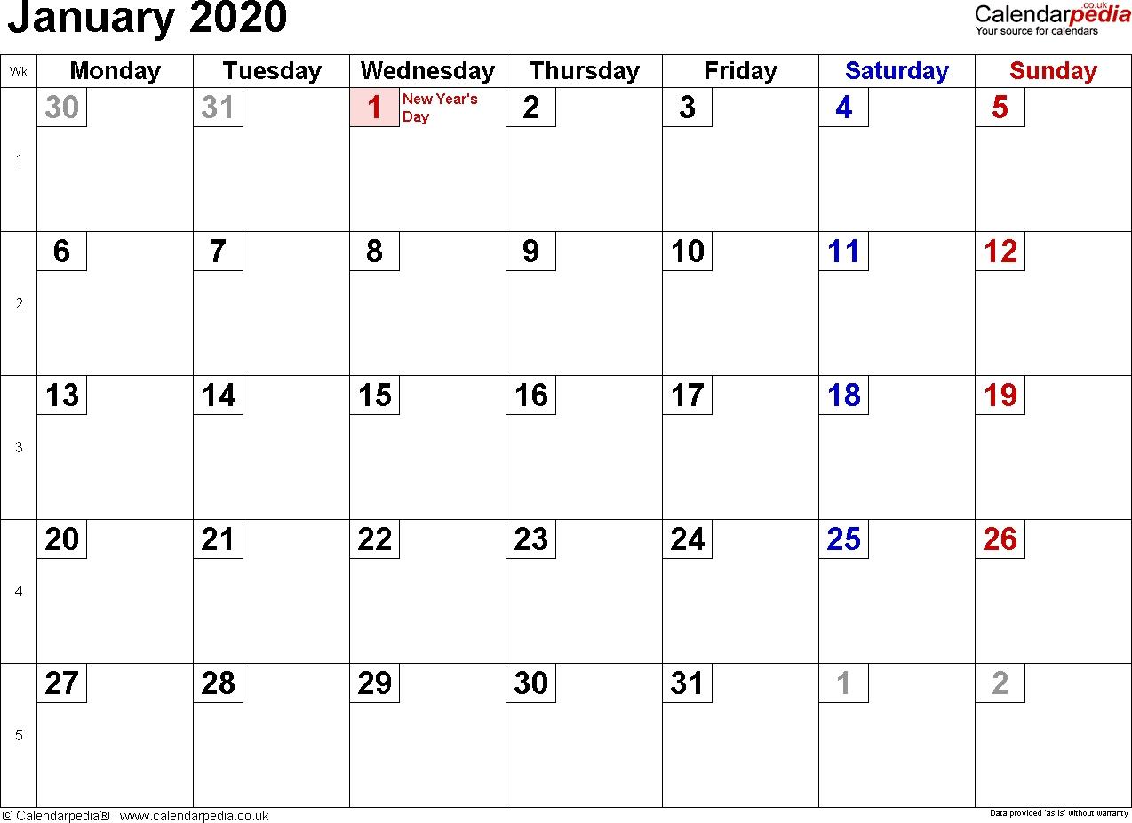 January 2020 Calendar Uk
