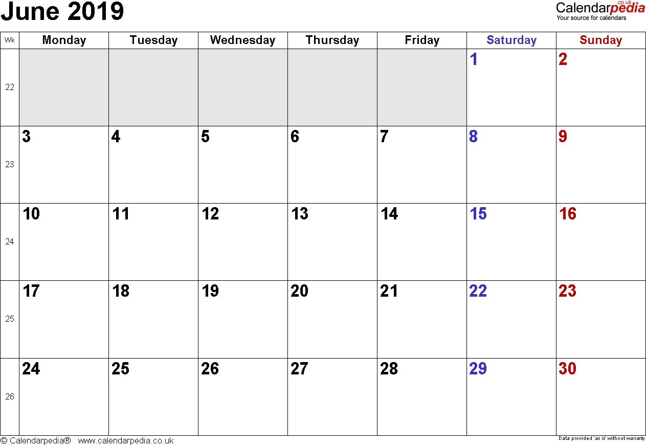 June 2019 Printable   Calendar With Week Numbers Monday