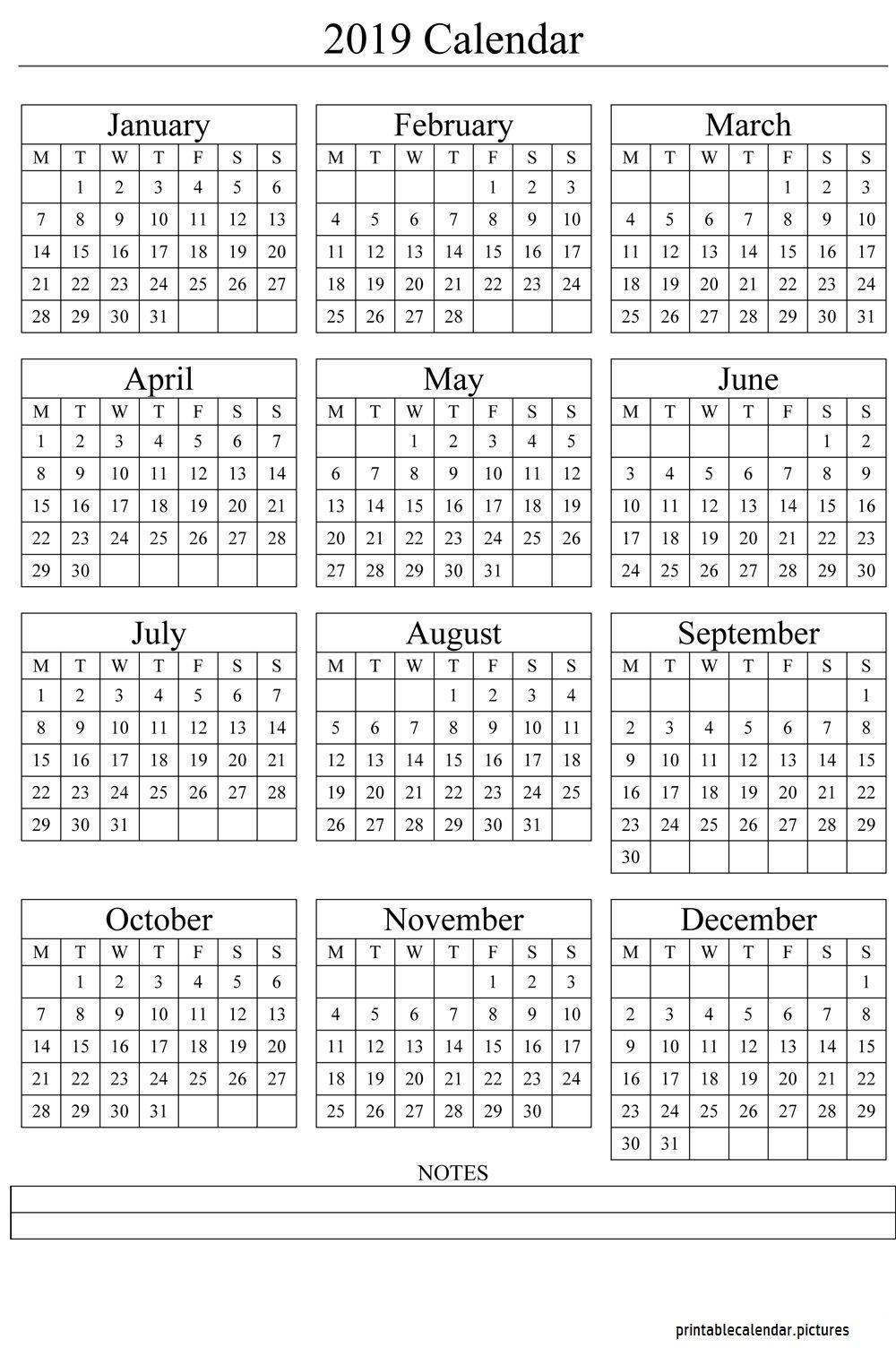 Printable 2019 Yearly Calendar Templates Us Edition