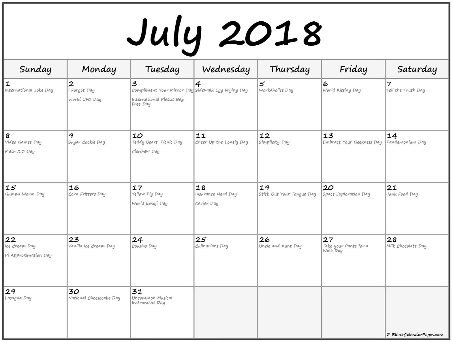 Collection Of July 2018 Calendars With Holidays