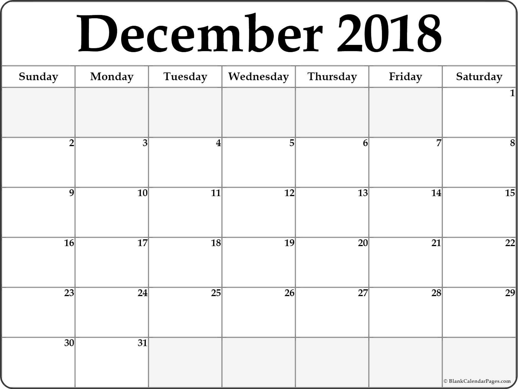 December 2019 Printable Calendar Templates