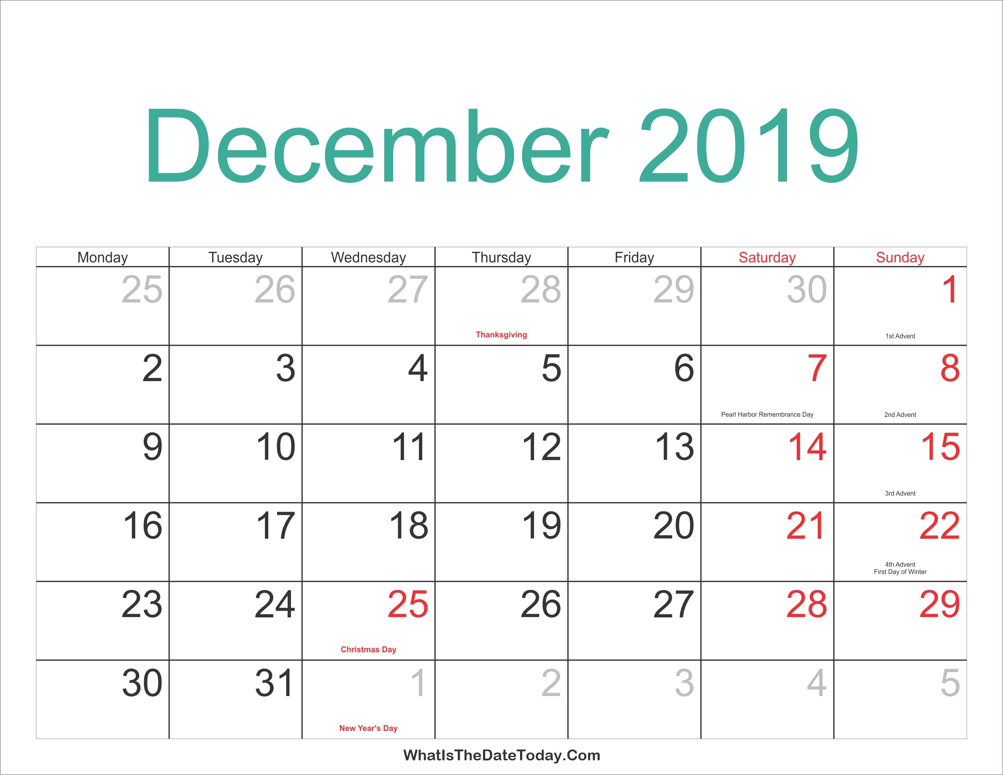 December 2019 Calendar With Holidays Printabe   Calendar Pdf Png