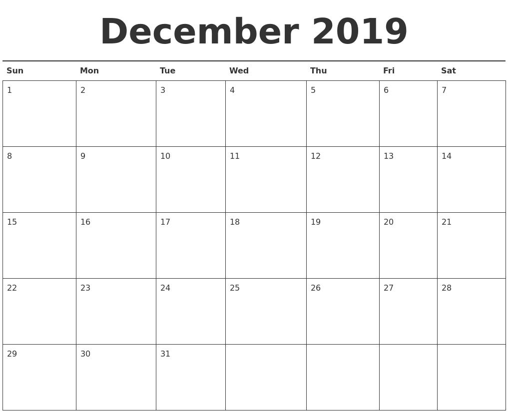 Printable   Calendar 2019 December Monday